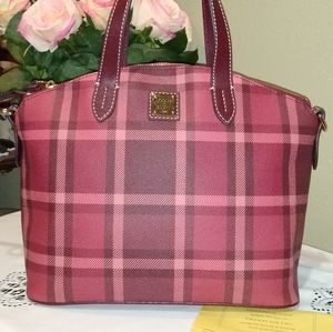 DOONEY AND BOURKE RED PLAID SATCHEL